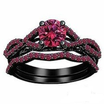 1.75 CT Round Cut Pink Sapphire Black Gold Plated 925 Silver Engagement Ring Set - $78.99
