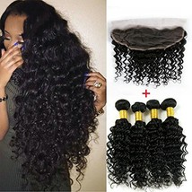 ALIMICE HAIR 4 pcs Virgin Indian Deep Curly Hair With Frontal Closure In... - $242.22