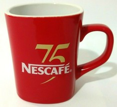 Nescafe 75 Anniversary Coffee Tea Cup Mug Red Square Small Two Tone Java... - $23.03