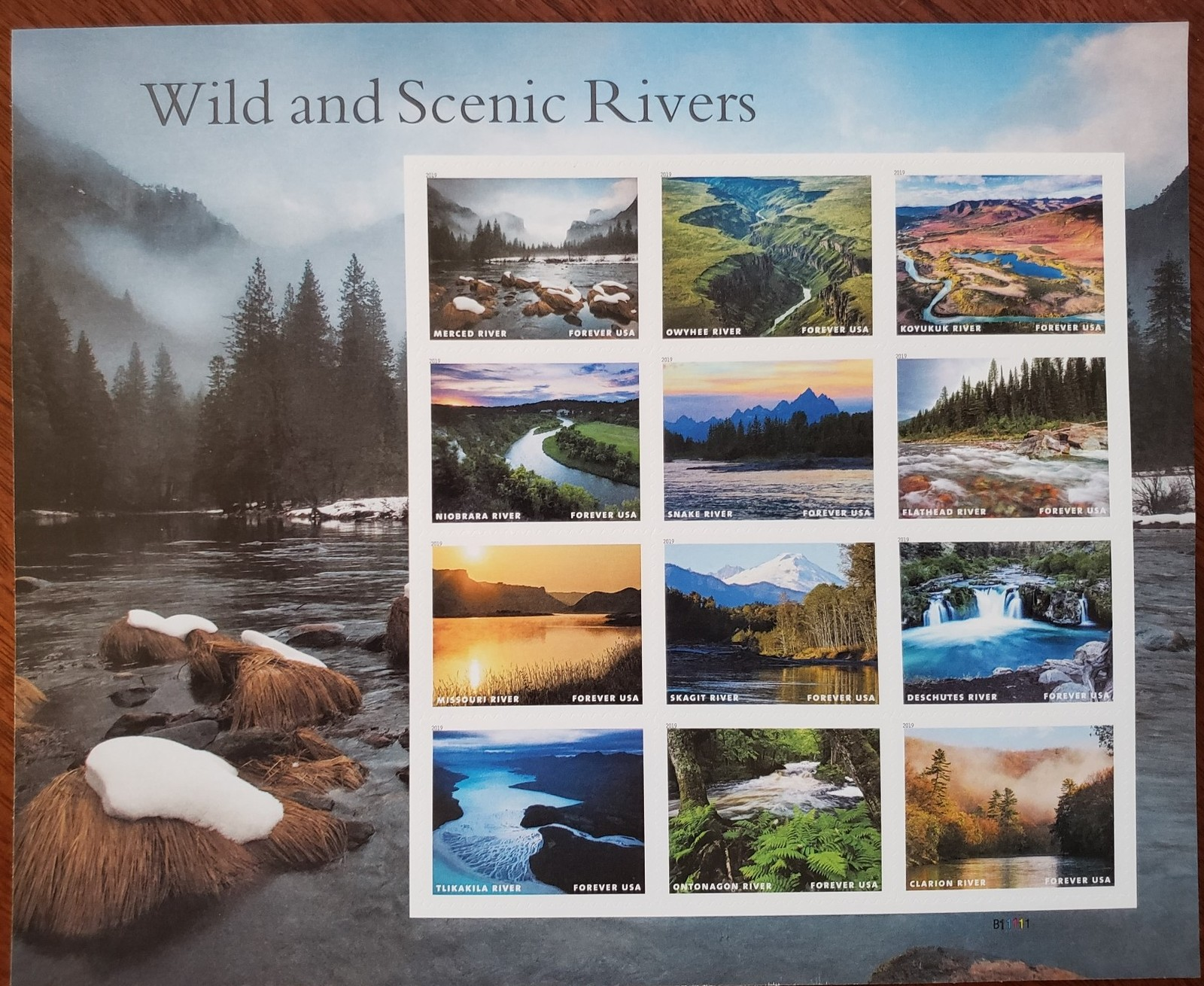 Wild and Scenic Rivers USPS Stamp Sheet of 12 Stamps 2019 MNH