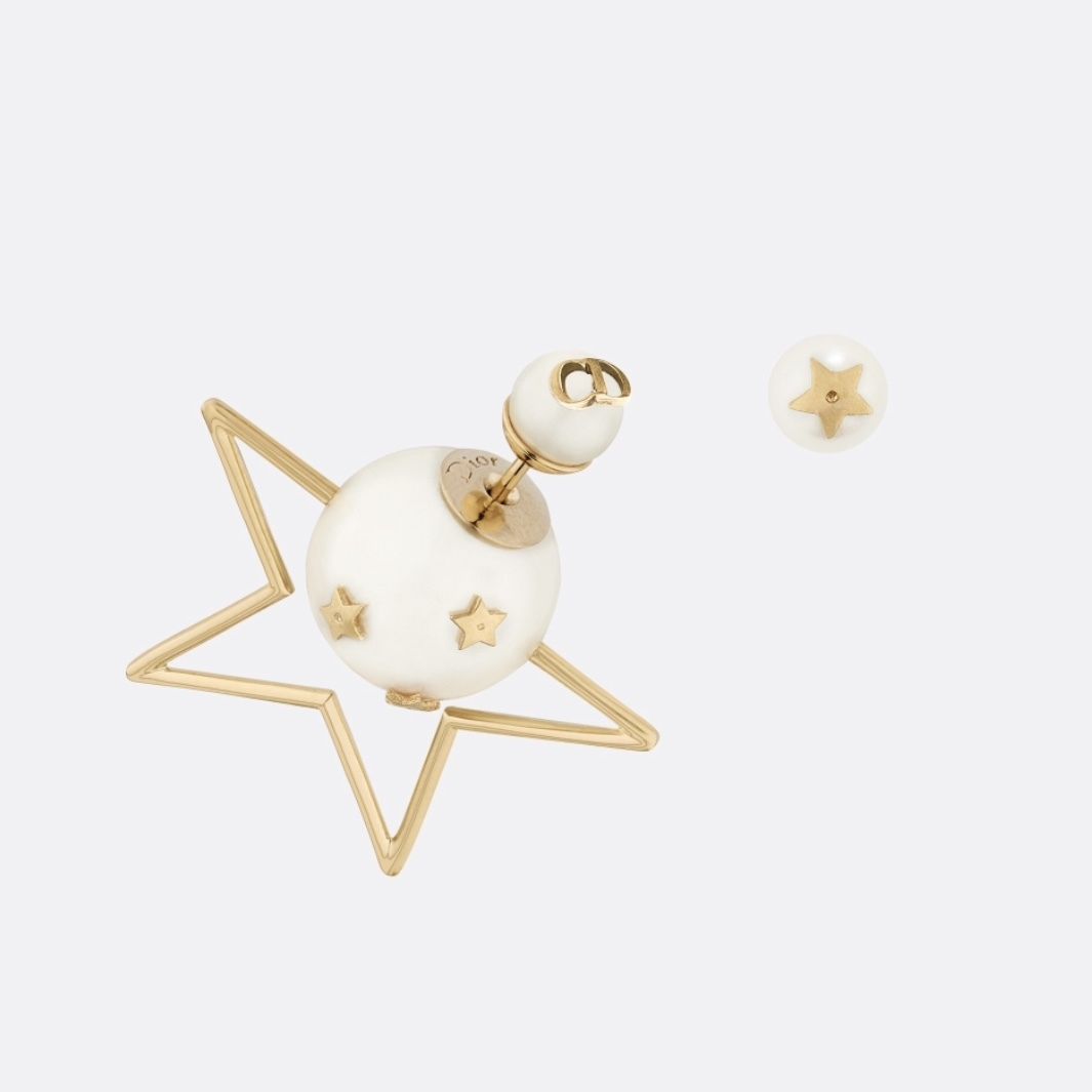 Primary image for WITH RECEIPT* Christian Dior CD TRIBLES STAR 2019 DOUBLE PEARL Earrings GOLD