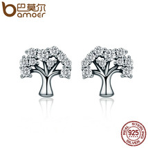 BAMOER Authentic 100% 925 Sterling Silver Tree of Life Clear CZ Stud Ear... - $16.08
