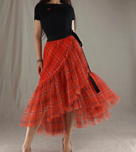 Women High Waist Wrap Tulle Skirts Red Plaid Wrap Skirt Tulle Party Formal Skirt image 1