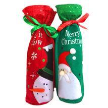 2pcs/set Red Wine Bottle Cover Bags Santa Claus Snowman Christmas Wine B... - $16.00