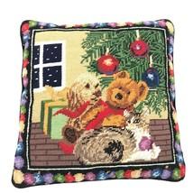 Christmas DOG Cat TEDDY Bear Needlepoint WOOL Velvet THROW Pillow BLACK ... - $29.21