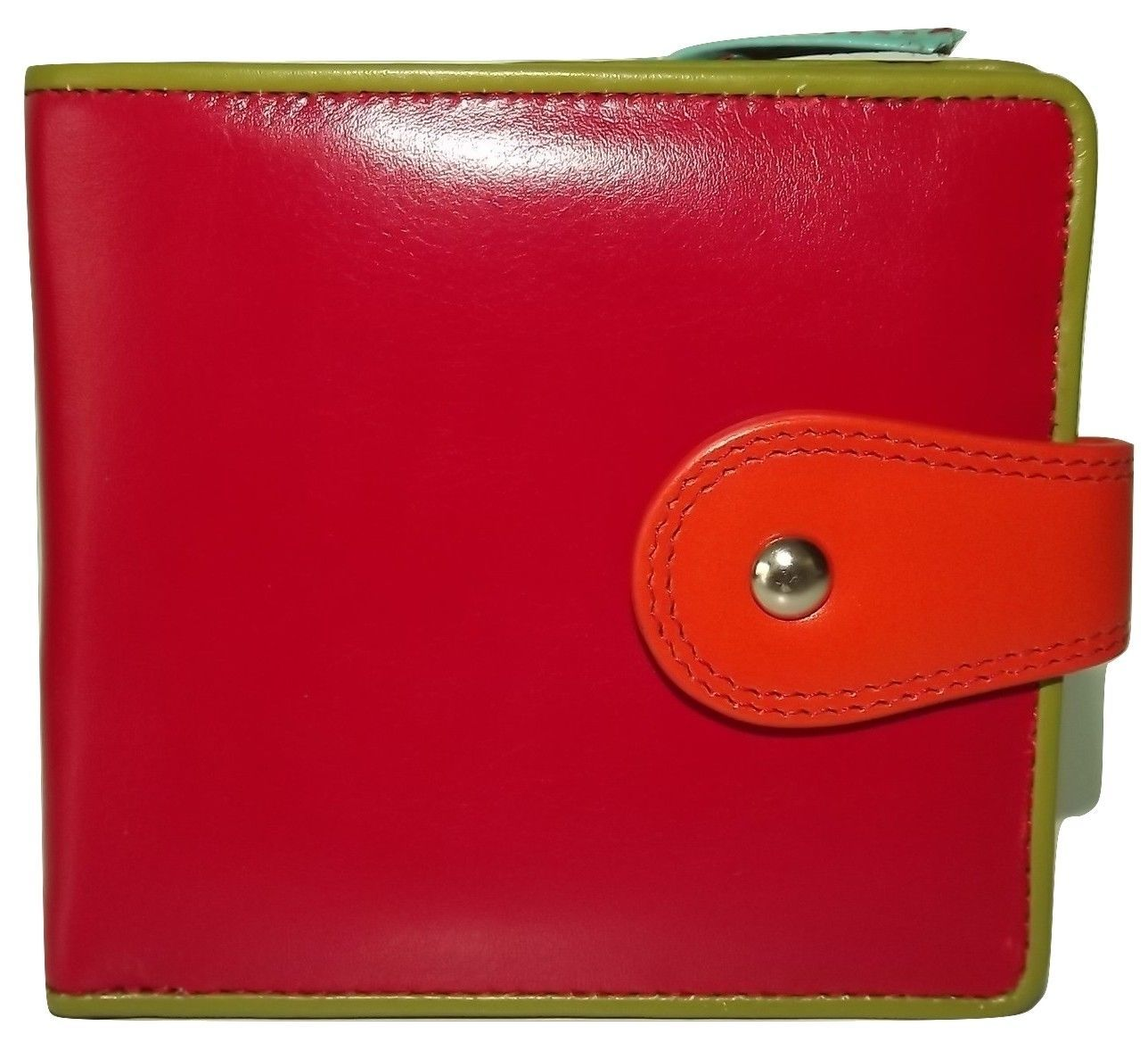 Primary image for NEW ITALIE LEATHER WOMEN'S CREDIT CARD WALLET WITH CHANGE POCKET RED/MULTI