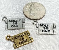 TICKET STUB ADMIT ONE FINE PEWTER PENDANT CHARM - 17mm L x 11.5mm W x 1mm D image 2