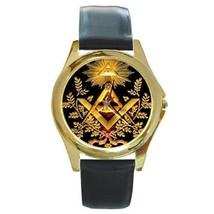 MASONIC MASON SYMBOL GOLD-TONE WATCH - NICE! - $25.99