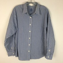 Talbots Women's Longsleeve Blue Plaid Button Front Classic Shirt Size Large - $17.81