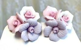 Vintage Porcelain Lavender, Pink and White Pastel Roses Cluster Pierced ... - $22.28