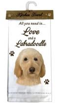 LABRADOODLE BLONDE DOG COTTON KITCHEN DISH TOWEL - $9.99