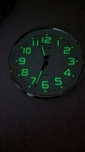 "Wall Clock W/ Silent Non-Ticking Night Light Glow In The Dark 13"" Indoor... - $19.79"