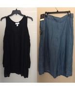Ava & Viv X Black Cold Shoulder Blouse + Denim Lyocell Culottes 14W BUNDLE - $28.91