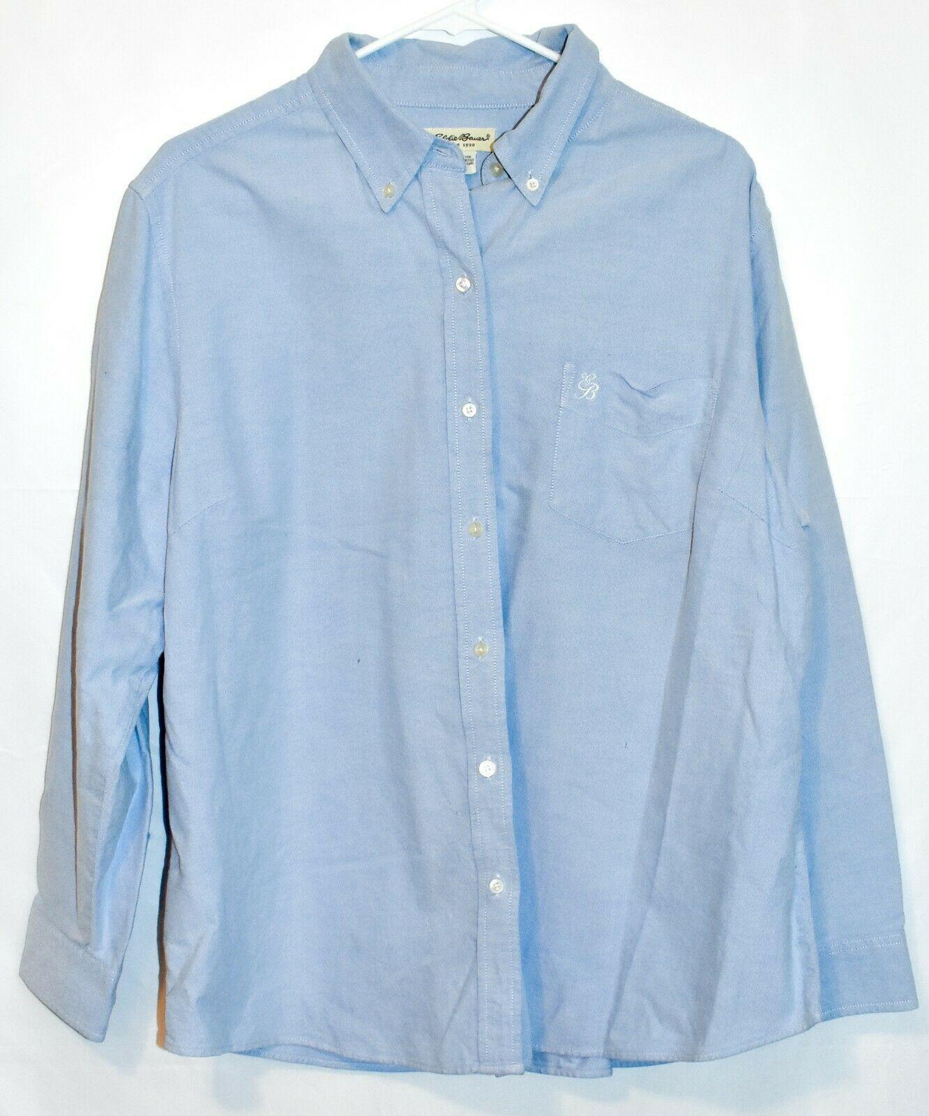 Eddie Bauer Women's Light Blue Long Sleeve Button Down Collared Shirt Size 2XL