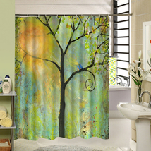 Cute Fabric Bath Curtain Polyester Waterproof 3d Printing Tree Shower Curtain in image 6