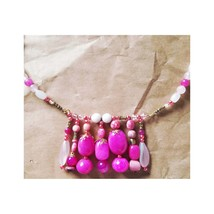 Bib Handmade OOAK Necklace #1L Rose Agate, Tensa Japanese, Marble, Jasper and Cz - $34.42