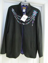 BOB MACKIE Wearable Art Jacket Coat Rayon Blend Bead Embellished Black L... - $39.95