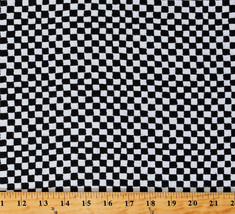 Flannel Clown Check Black & White Checkered Cotton Flannel Fabric Print D280.41 - $9.95