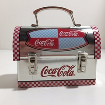 Mini Coca Cola Lunchbox Tin Silver with Red White Checkers Miniature (K) - $11.29