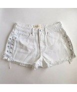New PacSun Juniors Shorts Size 26 White Frayed Hem Distressed Side Tie L... - $29.70