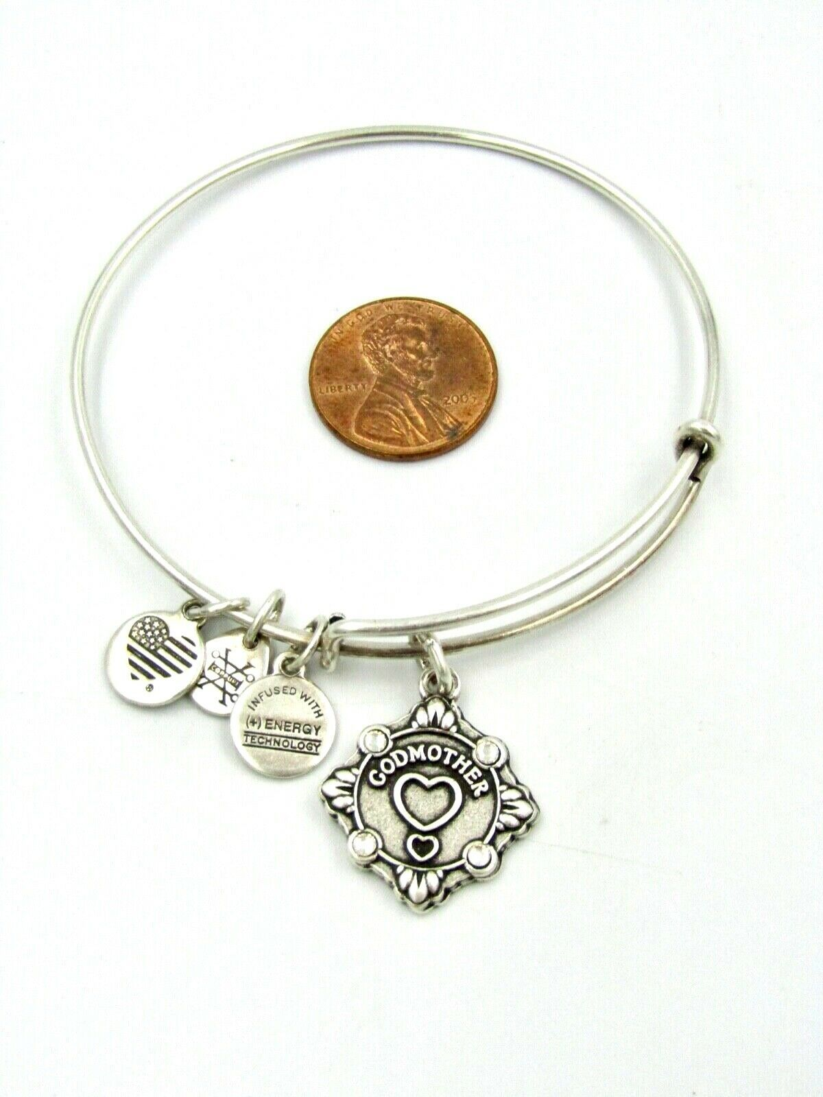 Primary image for Alex And Ani GODMOTHER Charm Bangle Bracelet, Rafaelian Silver Color - Used