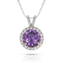 3.25 CT 14K Solid White Gold Amethyst Pear Shape Basket Setting Pendant w// Chain