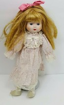 "Porcelain Doll 15"" Blond Blue Eye in Pink Lace Dress - $28.01"
