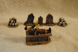 Lot of 6 Rare Lemax Spooky Town Figures Frankenstein Skeletons Halloween... - $19.99