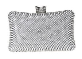 Bling Crown Clutch Purse Women Rhinestone Crystal Evening Clutch Bags--Silver