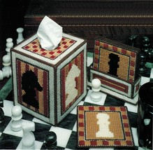 Plastic Canvas Chess Tissue Cover Coaster Holder Playing Card Case Tally Pattern - $6.99