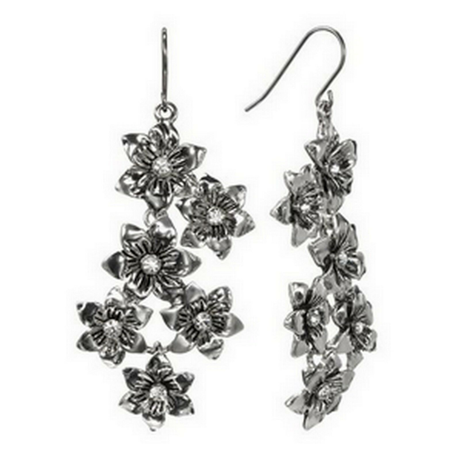 Trifari Silver Tone Simulated Crystal Flower Floral Drop Stud Earrings - $15.99