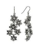 Trifari Silver Tone Simulated Crystal Flower Floral Drop Stud Earrings - $15.99