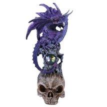 """10""""H Winged Purple Dragon on Skull Head Rhinestone Rock Crystal - $20.58"""