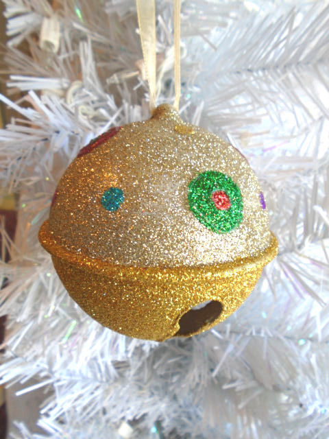 Christmas Tree Ornament Gold Star Spiral Tree Red White Glitter Bell