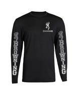 SILVER POCKET BROWNING HUNTING BUCK CHEST BIG LOGO T-SHIRT LONG SLEEVE - $19.79+