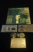 ~US SELLER~COMMEMORATIVE GOLD 200 EURO Banknote Rep.*W/COA +COIN& FLAKE - $16.80