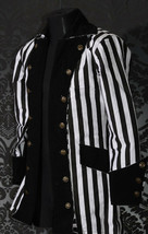 Men's Steampunk Black White Stripe Coat Beetlejuice Victorian Goth Pirat... - $100.19