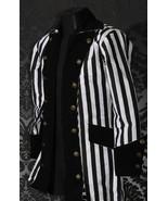 Men's Steampunk Black White Stripe Coat Beetlejuice Victorian Goth Pirat... - $100.19