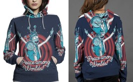 Rick And Morty Peace Among Words Hoodie Fullprint  For Women - $43.99+