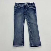 Soundgirl Denim Jeans Juniors 1 Blue Bootcut Leg Low Rise Embellished Po... - $18.95