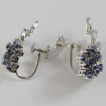 SOLID 18K WHITE GOLD FLOWER, LEAVES SCREW BACK EARRINGS WITH DIAMONDS SAPPHIRES image 4