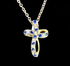 "BLUE & CLEAR RHINESTONE CROSS Pendant  Necklace Vintage Goldtone 18"" Cha... - $16.99"