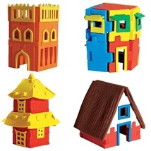 HOUSES- DIY 3D puzzle- Make your own construction - $30.00