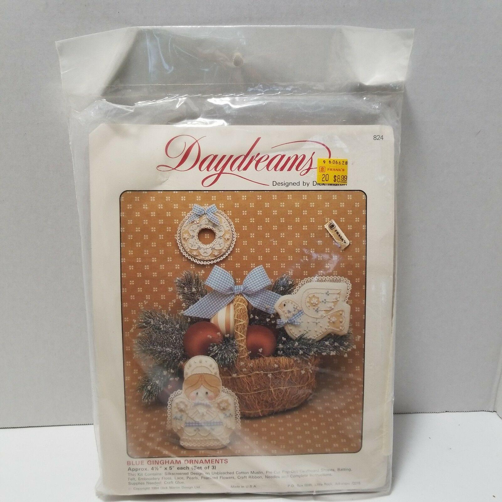 Daydreams Blue Gingham Ornaments #824 Angel Wreath Dove 1984 Set of 3 NIB - $8.59