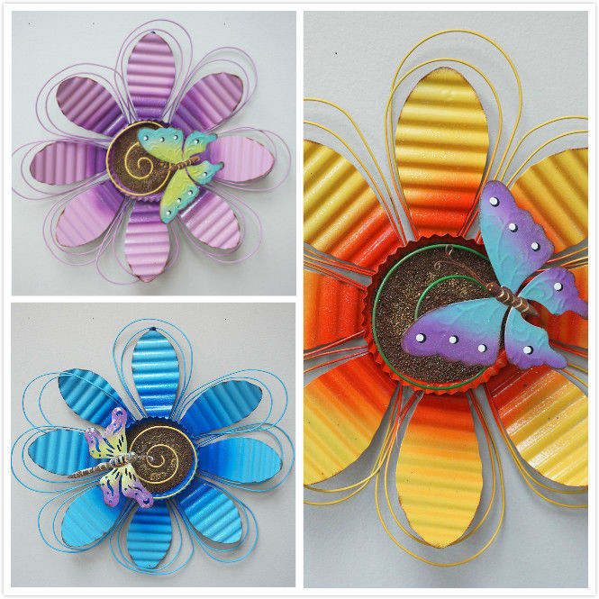 Primary image for Handcrafted Flower Indoor / Outdoor Wall Decor Daisy Butterfly Metal Art