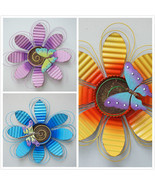 Handcrafted Flower Indoor / Outdoor Wall Decor Daisy Butterfly Metal Art - $19.23+