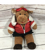 Build a Bear Brown Girl Cow Plush with Red Plush Red Bow Coat Black Skir... - $23.75