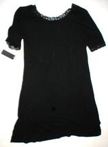 NWT New Designer Natori Night Gown Short Womens S Sleep Shirt Lace Black SS - $190.00