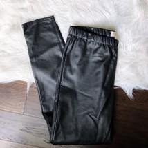 Michael Michael Kors Faux Leather Leggings Pants Black Stretch Skinny Size 12 - $54.44