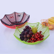 Plastic Spider Web Candy Basket Fruits Spiderweb Bowl Halloween Party Ho... - $6.99